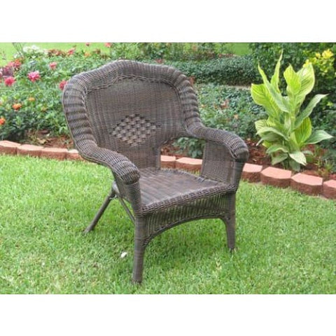 International Caravan Camelback Resin Wicker Patio Chairs (Set of 2) - White - Outdoor Furniture