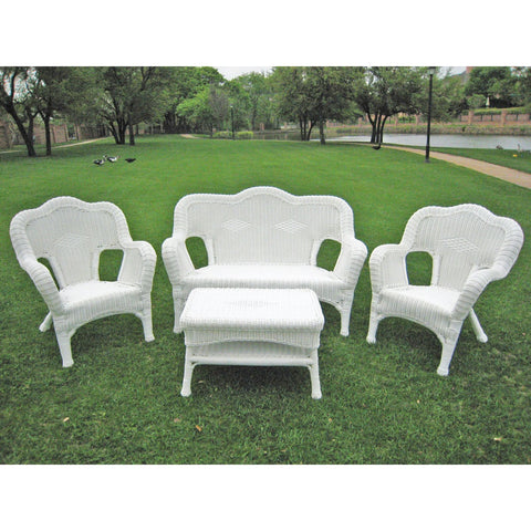 International Caravan Four Piece Maui Outdoor Seating Group - White - Outdoor Furniture