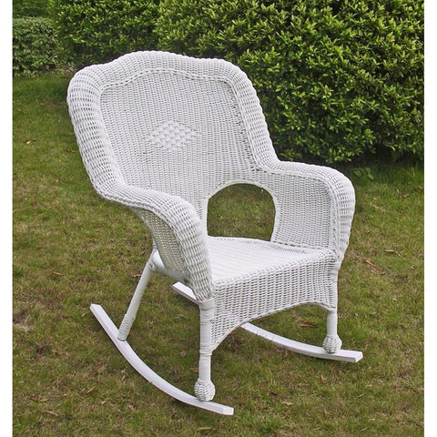 International Caravan Camelback Resin Wicker Rocker - White - Outdoor Furniture