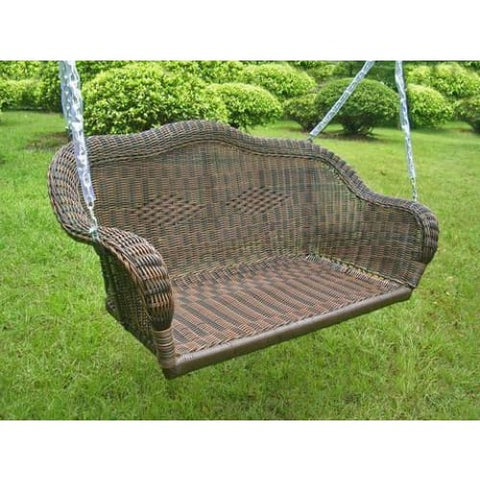 International Caravan Resin Wicker Hanging Loveseat Swing - White - Outdoor Furniture