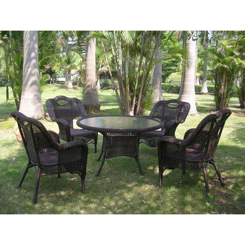 International Caravan Riviera 5-Piece Outdoor Dining Group - White - Outdoor Furniture
