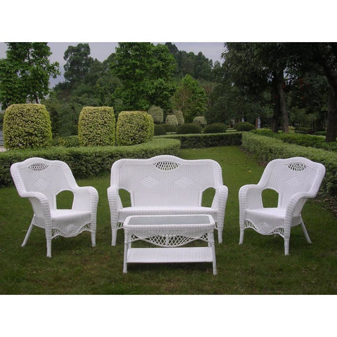 International Caravan Riviera 4-Piece Outdoor Seating Group - White - Outdoor Furniture