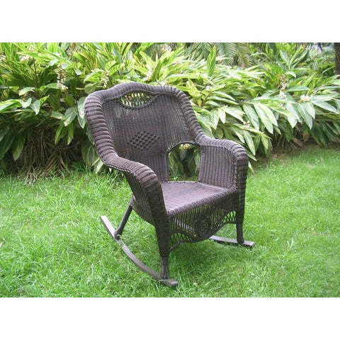 International Caravan Resin Wicker Indoor/Outdoor Rocker - White - Chairs