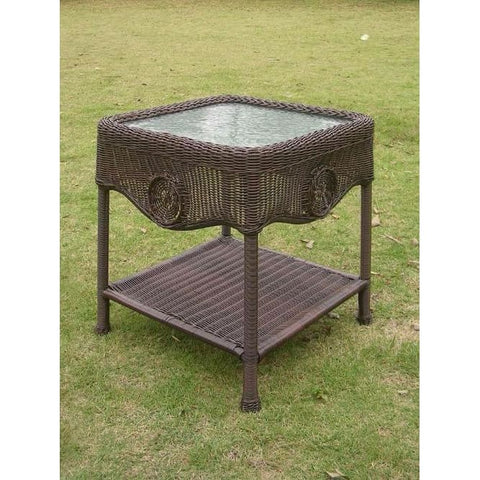 International Caravan Wicker Glass Top Side Table - White - Outdoor Furniture