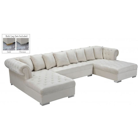 Meridian Furniture Presley 3pc. Velvet Sectional - Cream - Sofas