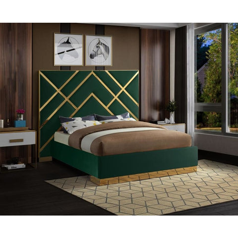 Meridian Furniture Vector Velvet Queen Bed - Green - Bedroom Beds
