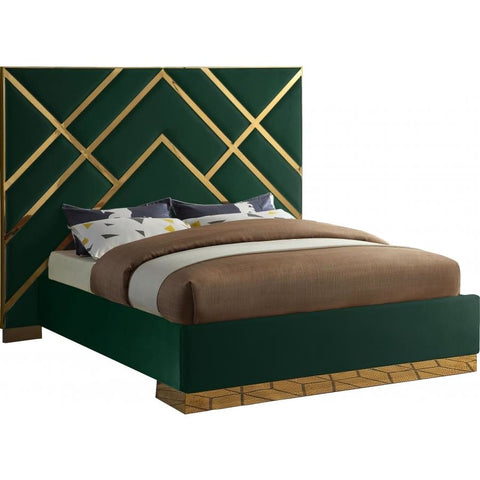 Meridian Furniture Vector Velvet King Bed - Green - Bedroom Beds