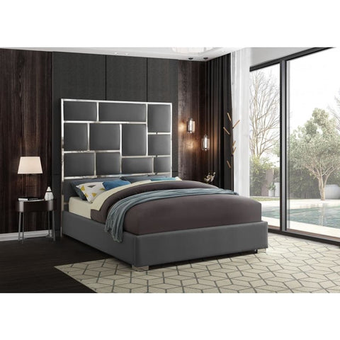 Meridian Furniture Milan Faux Leather Queen Bed - Grey - Bedroom Beds