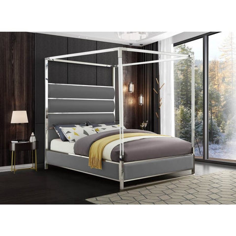 Meridian Furniture Encore Faux Leather Queen Bed - Grey - Bedroom Beds