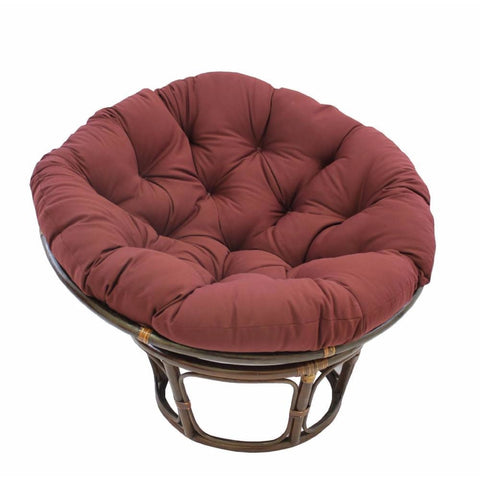 International Caravan 42-Inch Rattan Papasan Chair with Solid Twill Cushion - Bery Berry - Chairs