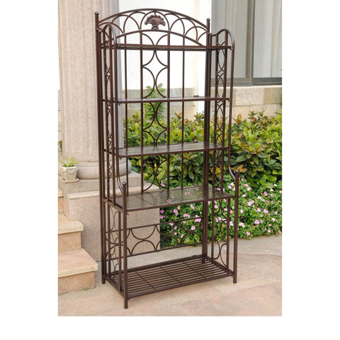 International Caravan Iron 5-Tier Bakers Rack - Bronze - Shelves & Cases