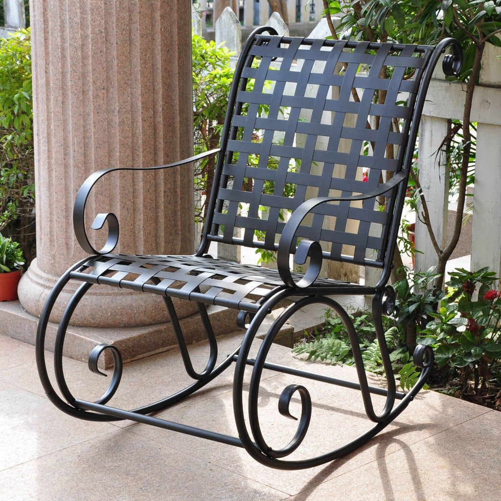 International Caravan Mandalay Iron Rocking Chair - Outdoor Furniture