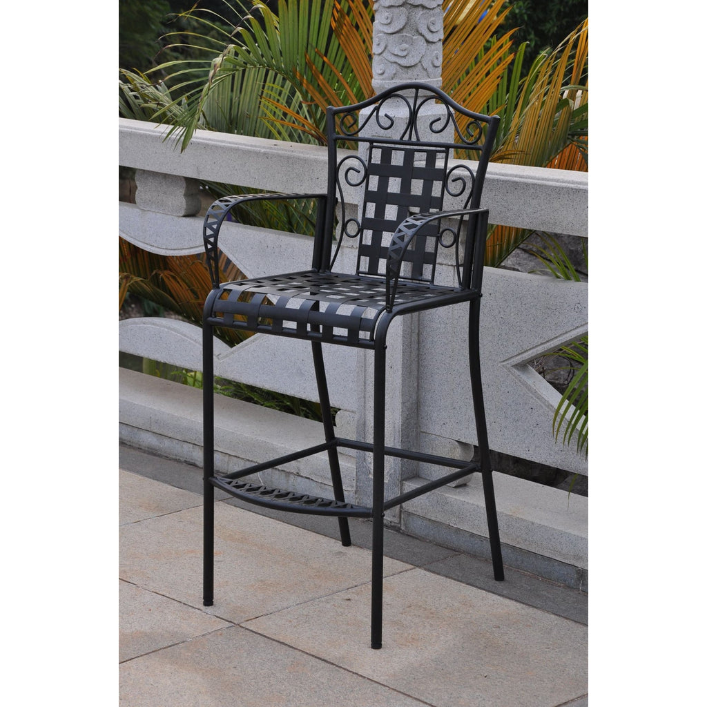 International Caravan Set of 2 Mandalay Iron Bar Height Chair - Antique Black - Outdoor Furniture