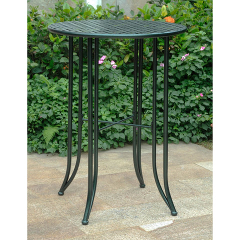 International Caravan Mandalay Iron Bar Height Round Table - Verdi Green - Outdoor Furniture