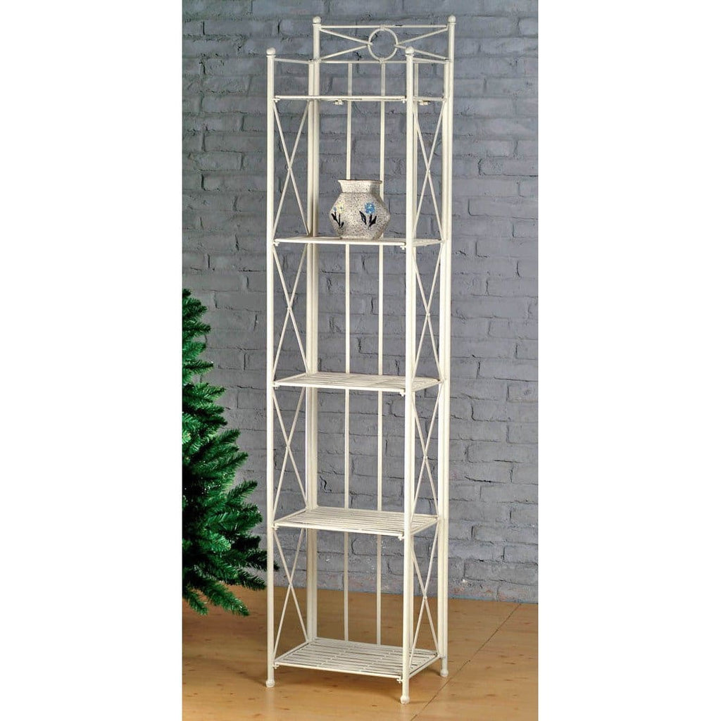 International Caravan 5-Tier Iron Folding Bakers Rack - Shelves & Cases