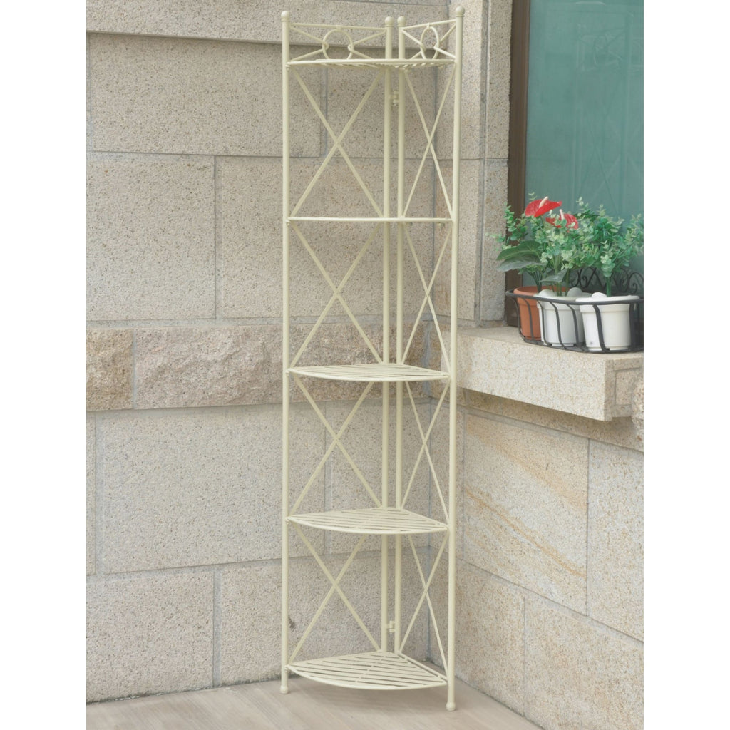 International Caravan Iron 5-Tier Corner Shelf - Shelves & Cases