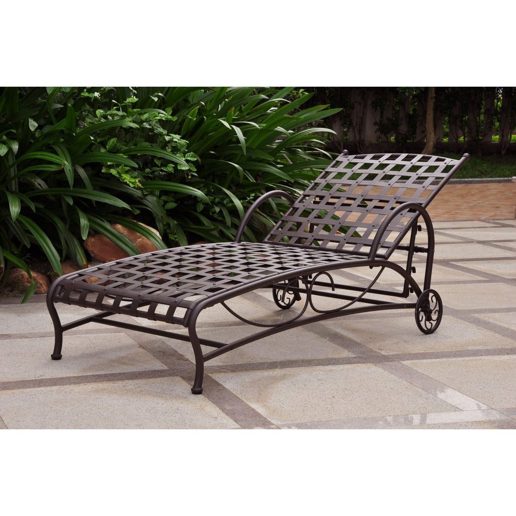 International Caravan Santa Fe Nailhead Single Multi Position Chaise Lounge - Rustic Brown - Outdoor Furniture