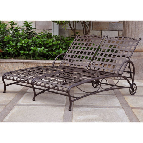 International Caravan Santa Fe Nailhead Double Multi Position Chaise Lounge - Rustic Brown - Outdoor Furniture