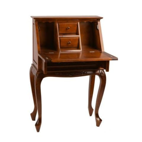 International Caravan Small Carved Secretary Desk with Fold Out Front - Other Tables