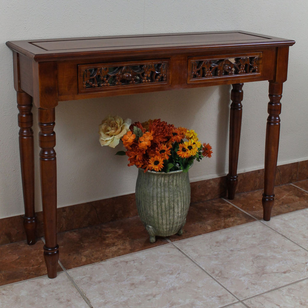 International Caravan Carved Two Drawer Table - Other Tables