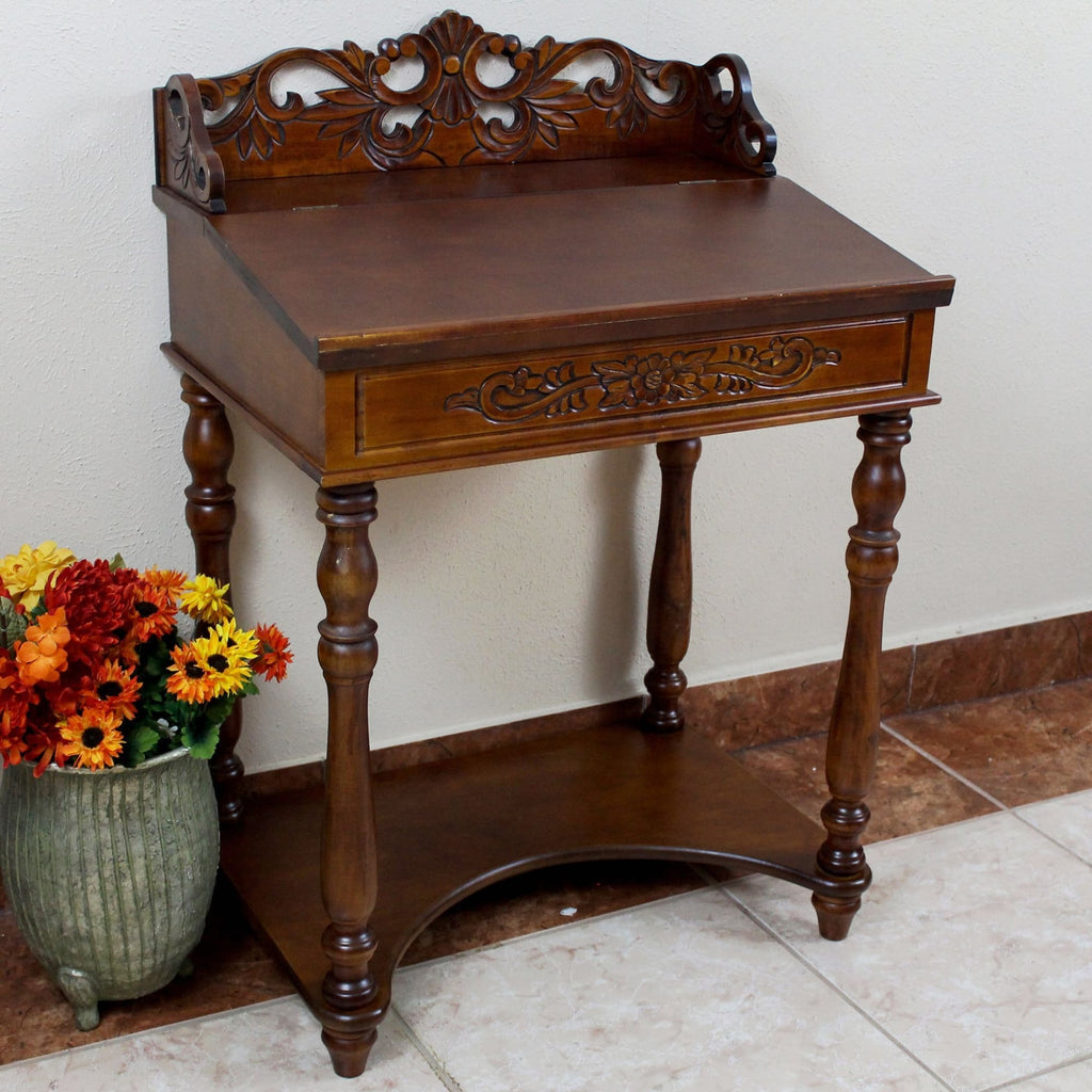 International Caravan Small Carve Writing Desk - Other Tables