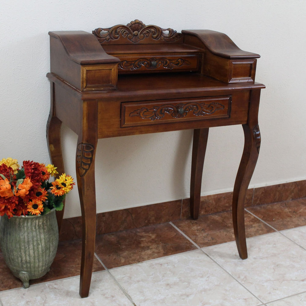 International Caravan Carved Wood Two Drawer Telephone Table - Other Tables