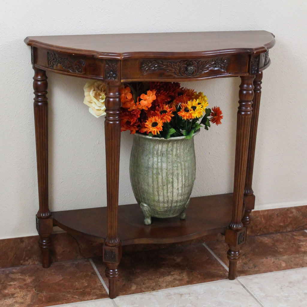 International Caravan Carved Wood One Drawer Console Table - Other Tables