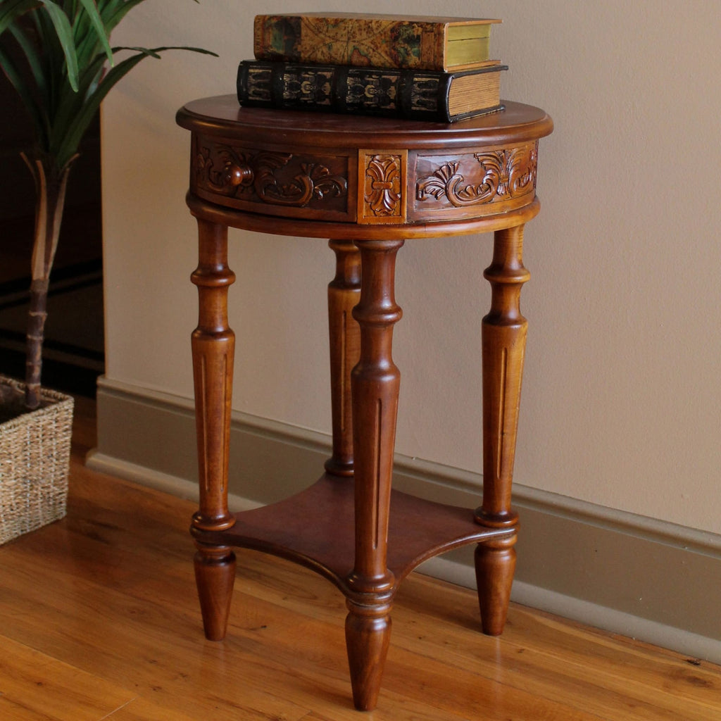 International Caravan Carved Wood Round Table - Other Tables