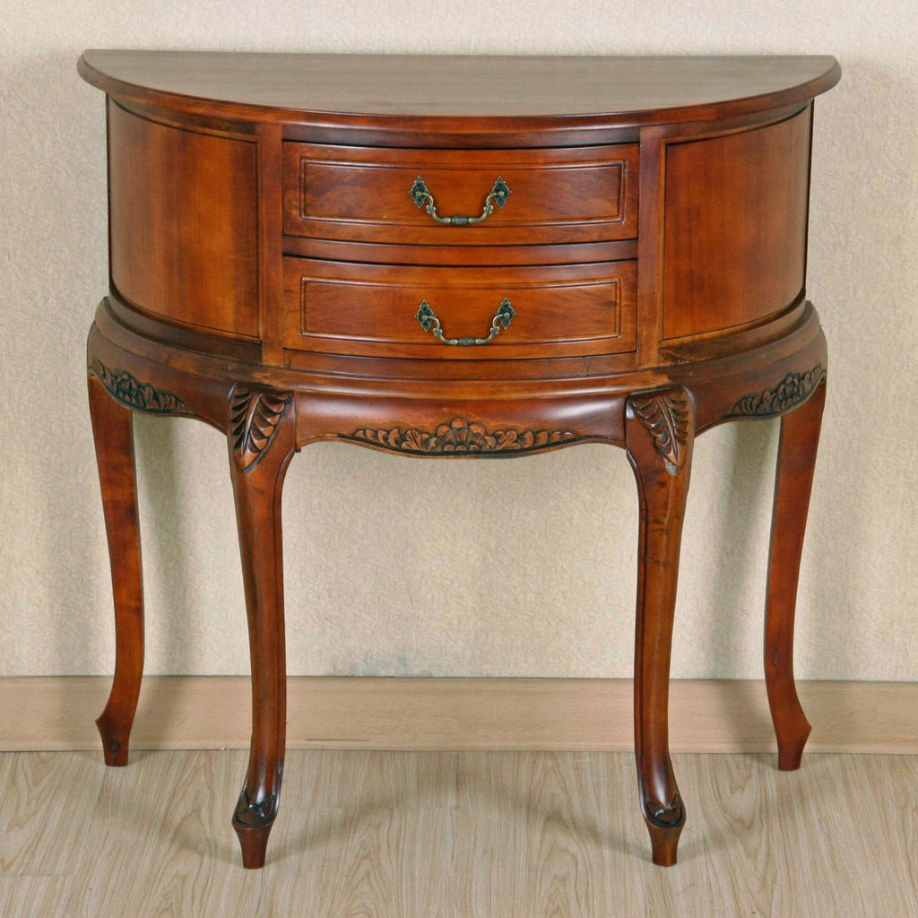 International Caravan Half Moon Wood Wall Table with Two Drawers - Other Tables