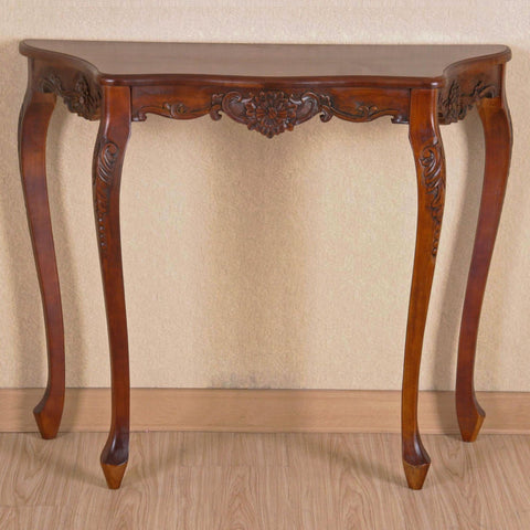International Caravan Carved Four Leg Scalloped Wall Table - Other Tables