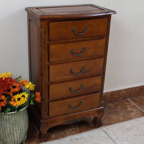 International Caravan Carved Wood Five Drawer Jewelry Chest - Drawers & Dressers