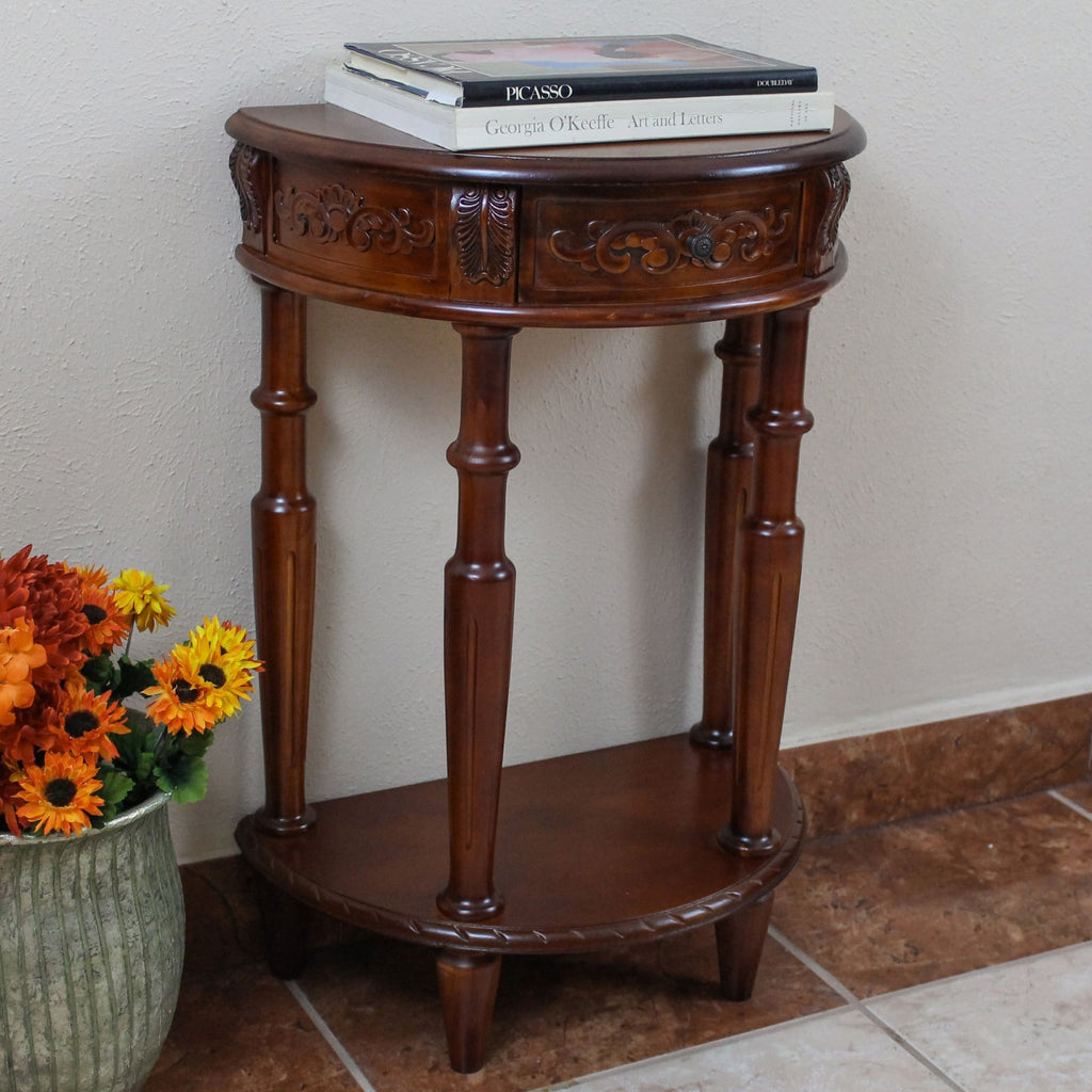 International Caravan Carved Small 1/2 Moon 2-Tier Wall Table - Other Tables