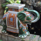 International Caravan Large Porcelain Elephant Stool - Green Mix - Outdoor Furniture