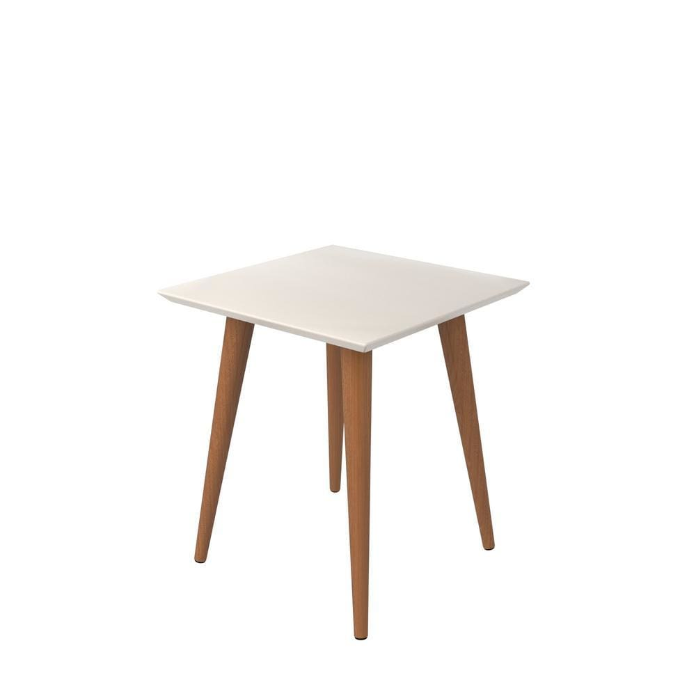 Manhattan Comfort Utopia 19.68 High Square End Table With Splayed Wooden Legs - Off White and Maple Cream - Other Tables
