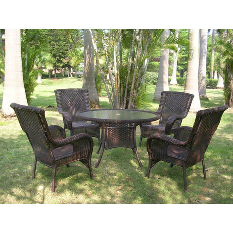 International Caravan San Tropez 5-Piece Outdoor Dining Group - White - Outdoor Furniture