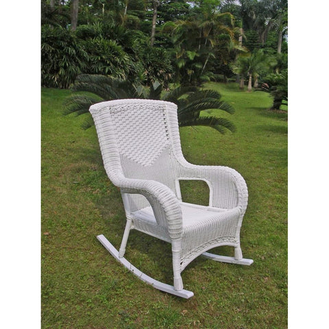 International Caravan San Tropez Resin Wicker Aluminum Rocker - White - Outdoor Furniture