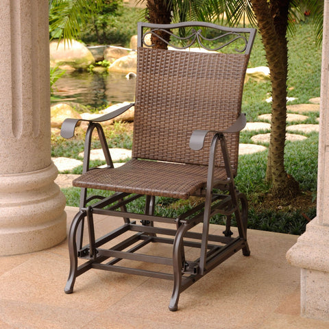 International Caravan Valencia Resin Wicker/Steel Single Glider - Chocolate - Outdoor Furniture