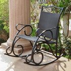 International Caravan Valencia Resin Wicker/Steel Rocker - Black Antique - Outdoor Furniture