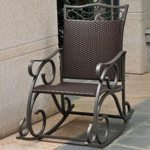 International Caravan Valencia Resin Wicker/Steel Rocker - Chocolate - Outdoor Furniture
