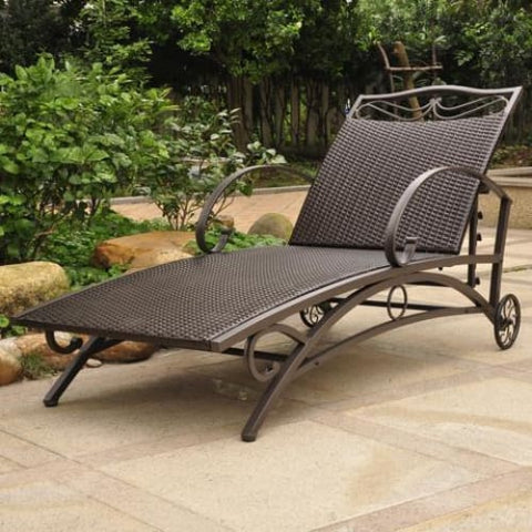 International Caravan Valencia Resin Wicker/Steel Multi Position Single Chaise Lounge - Honey - Outdoor Furniture