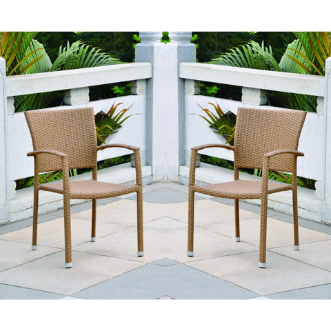 International Caravan Set of Four Barcelona Resin Wicker Square Back Dining Chair - Honey - Dining Chairs