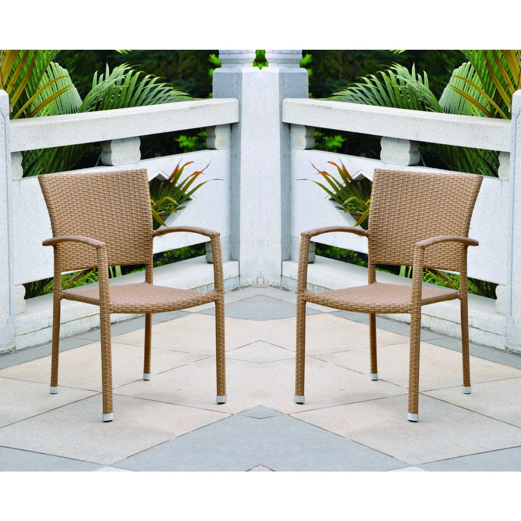 International Caravan Barcelona Resin Wicker Set of Six Square Back Dining Chair - Honey - Dining Chairs