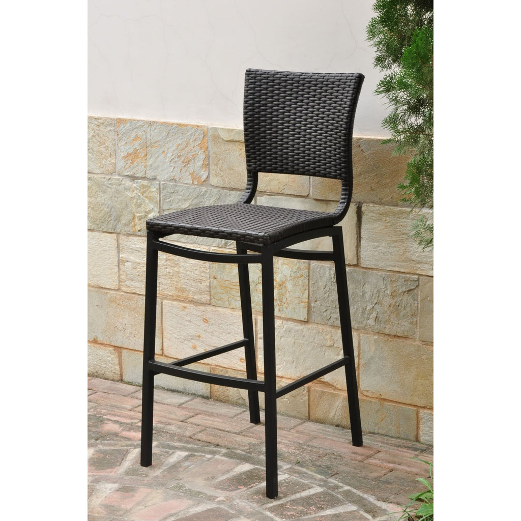 International Caravan Barcelona Set of Two Resin Wicker/Aluminum Bar Stools - Chocolate - Outdoor Furniture
