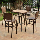 International Caravan Barcelona Set of Five Resin Wicker/Aluminum Bar Bistro Set - Antique Brown - Outdoor Furniture