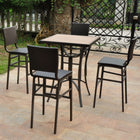 International Caravan Barcelona Set of Five Resin Wicker/Aluminum Bar Bistro Set - Chocolate - Outdoor Furniture