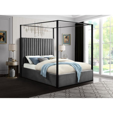 Meridian Furniture Jax Velvet King Bed - Grey - Bedroom Beds