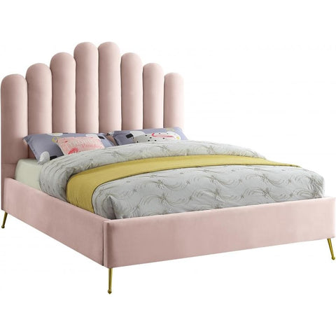 Meridian Furniture Lily Velvet Full Bed - Pink - Bedroom Beds