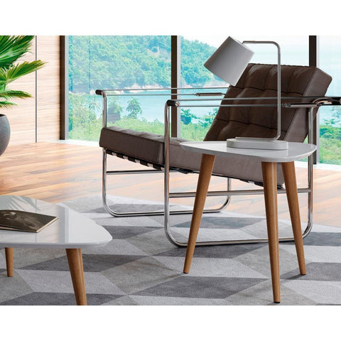 Manhattan Comfort Utopia 19.68 High Triangle End Table With Splayed Wooden Legs - Other Tables