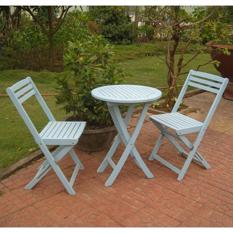 International Caravan Set of 3 Acacia Folding Bistro Set - White Wash - Outdoor Furniture