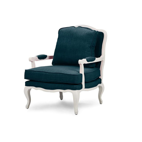 Baxton Studio Antoinette Classic Antiqued Azure Fabric French Accent Chair - Living Room Furniture
